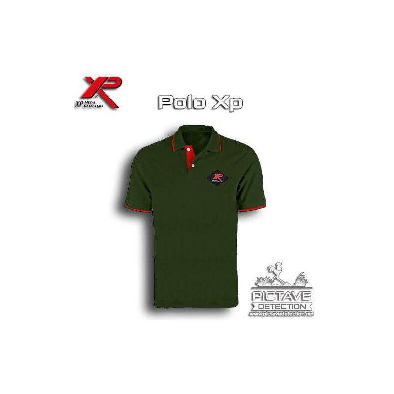 Polo XP vert avec bande rouge